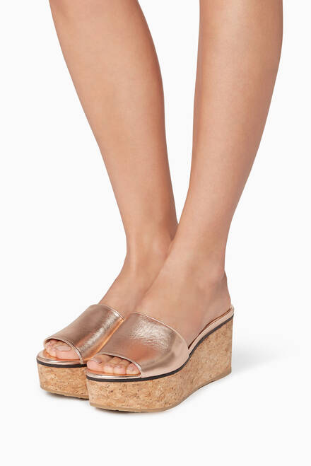 hover state of Tea-Rose Deedee Leather Wedges