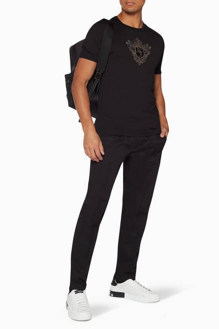 hover state of Black Plaque Drawstring Pants