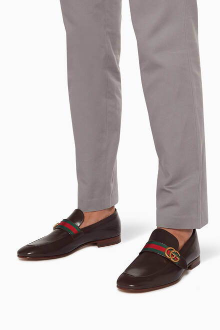 hover state of Brown Donnie GG Leather Loafers