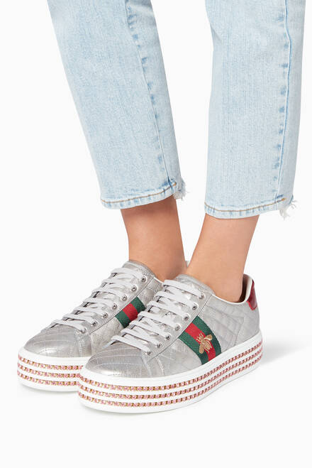 hover state of Silver Ace Crystal Sneakers