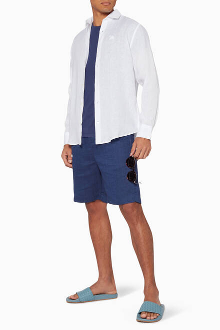 hover state of Navy Sport Linen Shorts