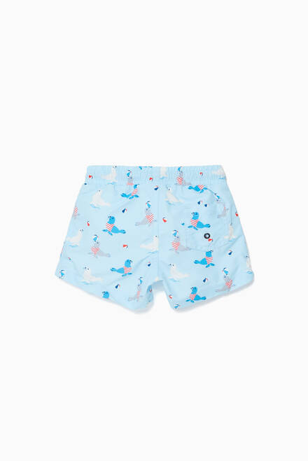 hover state of Blue Sailor Seal Swim Shorts