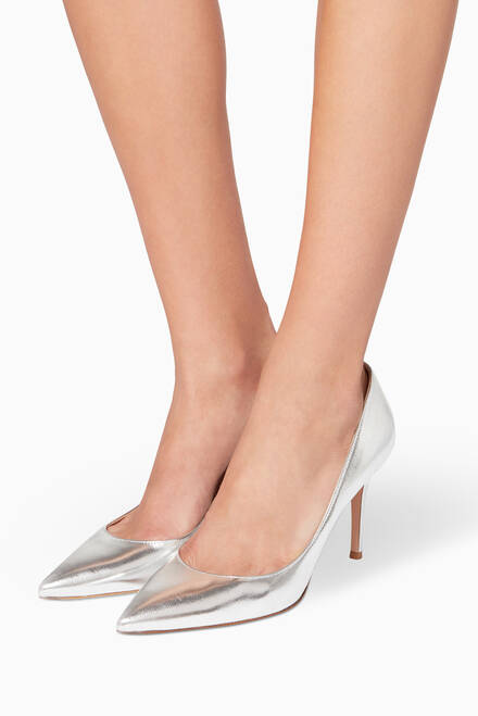 hover state of Silver Metallic-Leather Gianvito Pumps
