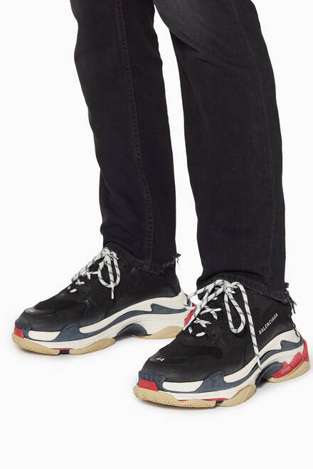 hover state of Black, Red & White Triple S Sneakers