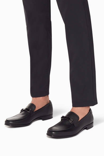 hover state of Black Saffiano Leather Buckle Loafers