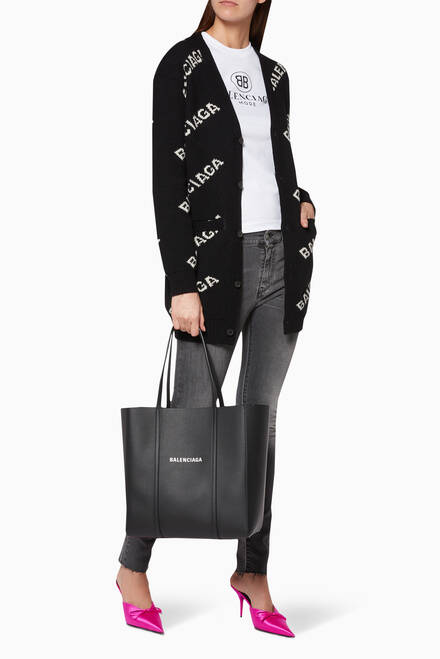 hover state of Black Small Everyday Shopper Tote Bag