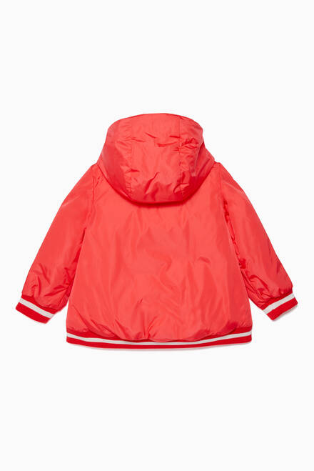 hover state of Coral-Orange Quilted Jacket