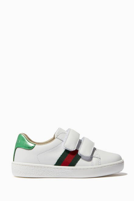 hover state of White Velcro Strap Leather Sneakers