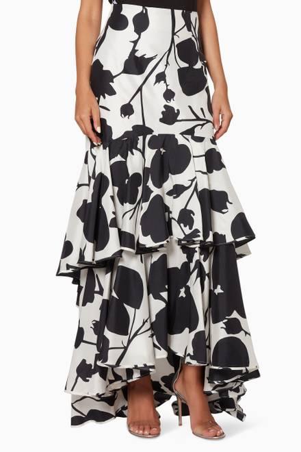 edd0cdd79535 Shop Bambah Boutique Black Black & White Cromo Ruffle Skirt for Women    Ounass UAE