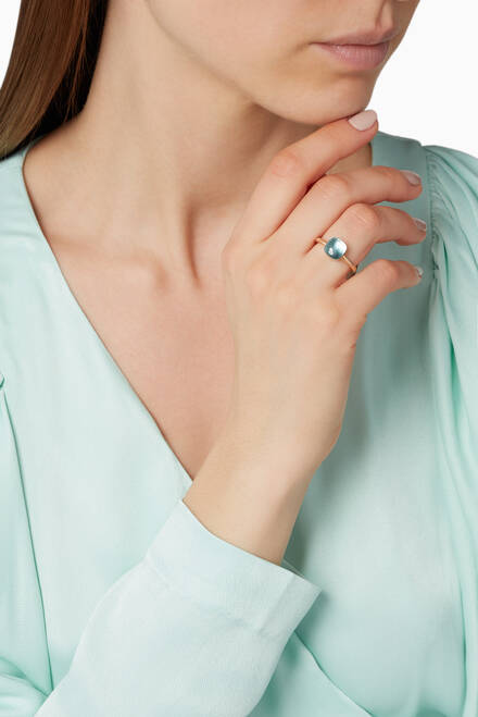 hover state of Rose-Gold & Light-Blue Topaz Mini Nudo Ring