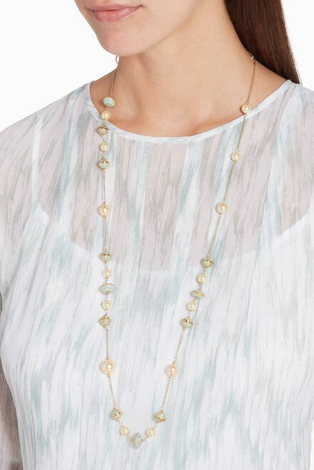 hover state of Enamel Meena & Pearl Long Necklace
