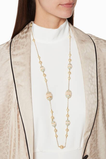 hover state of Enamel Meena and Cream Pearl Long Necklace