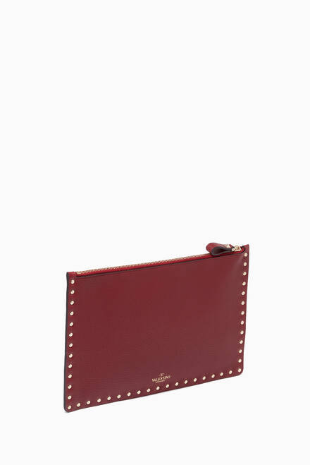 hover state of Valentino Garavani Large Rockstud Flat Pouch in Grainy Leather