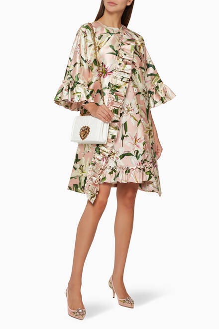 hover state of Lily-Print Silk Shantung Coat