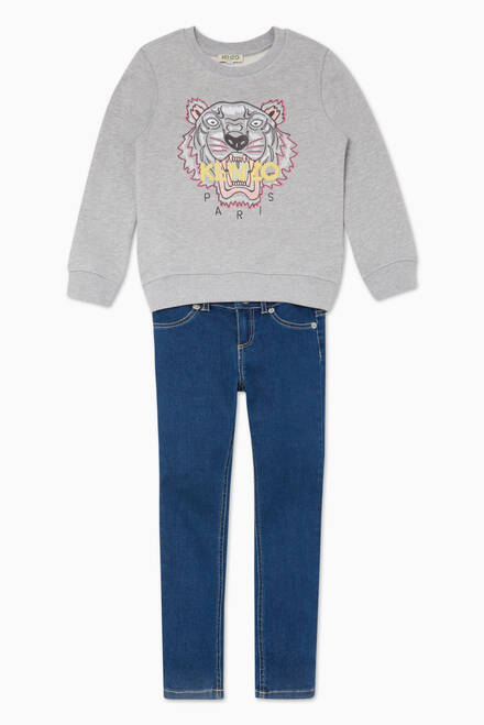 hover state of Embroidered Grey Tiger Sweatshirt