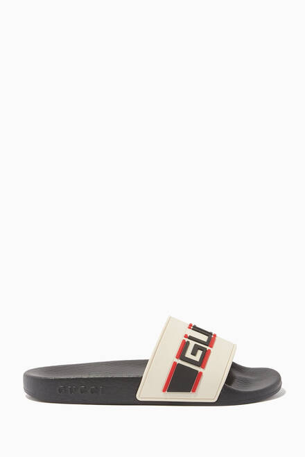 hover state of Logo Stripe Rubber Slide Sandals