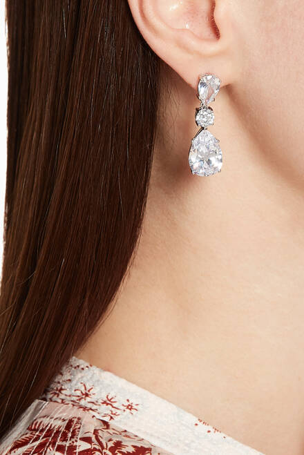 hover state of Double Pear & Round Drop Earrings