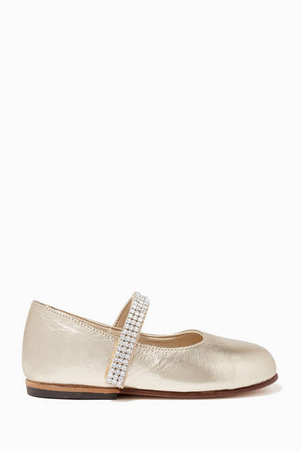 hover state of Crystal Strap Ballerina Flats