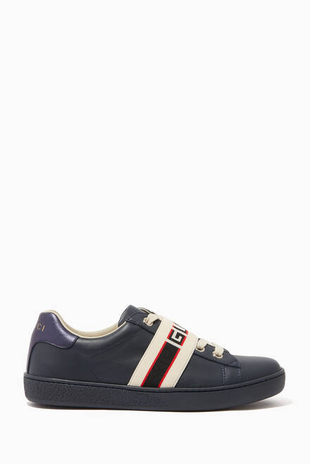 hover state of Ace Gucci Stripe Leather Sneakers