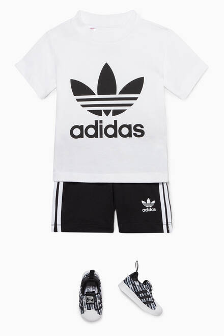 hover state of Trefoil T-Shirt & Striped Shorts Set