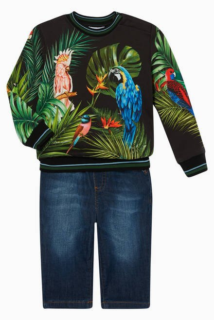hover state of Exotic Bird Print Sweatershirt