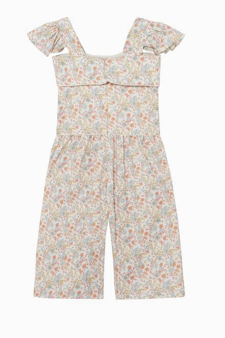 hover state of Ruffled Floral Jumpsuit