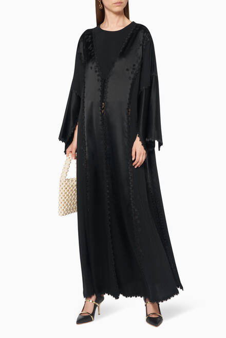 hover state of Satin Embroidered Abaya