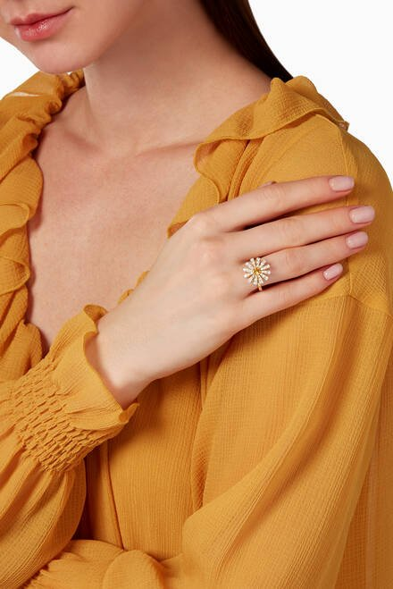 hover state of Margherita Diamond & Citrine Quartz Ring in 18kt Yellow Gold