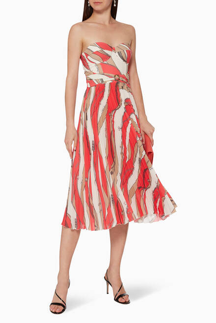 hover state of Foulard-Print Pleated Midi Dress