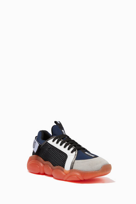hover state of Teddy Logo Strap Sneakers in PU Leather & Mesh