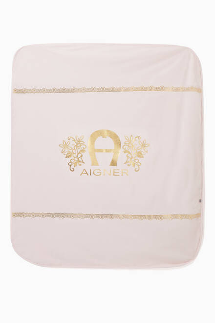 hover state of Floral Logo Print Padded Blanket