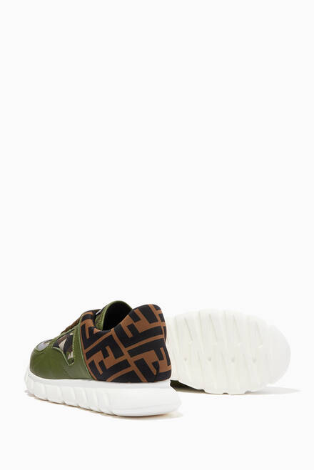 hover state of FF Logo Camo Sneakers in Leather