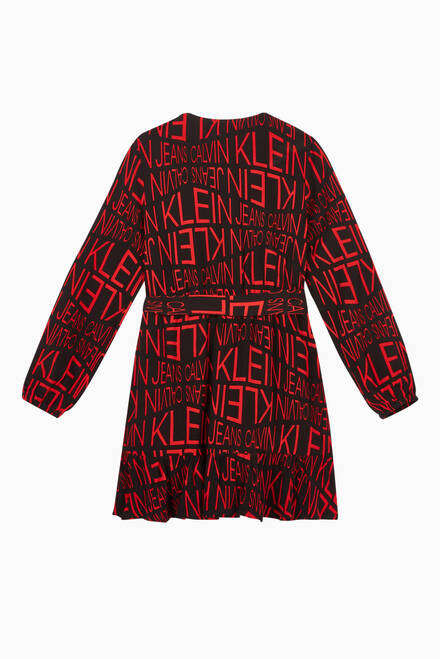 hover state of Distorted Logo Viscose Wrap Dress