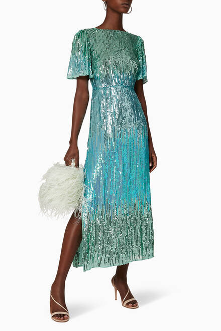 hover state of Venus Dip Dye Sequin Dress