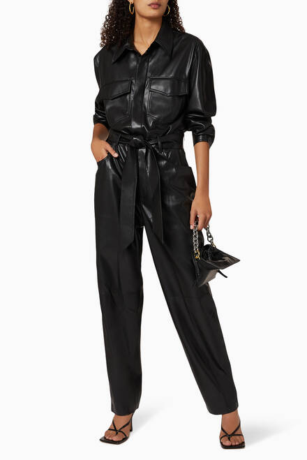 hover state of Ashton Vegan Leather Jumpsuit