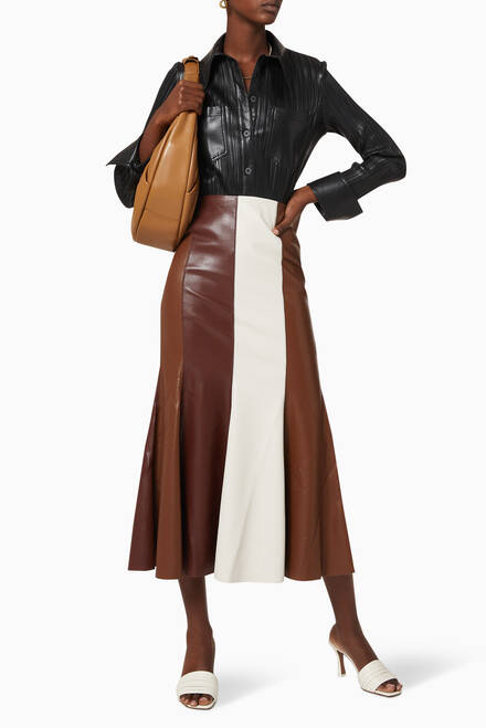 hover state of Blaine Pleated Vegan Leather Shirt
