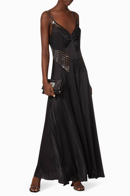 hover state of Sequin Cape Satin Dress