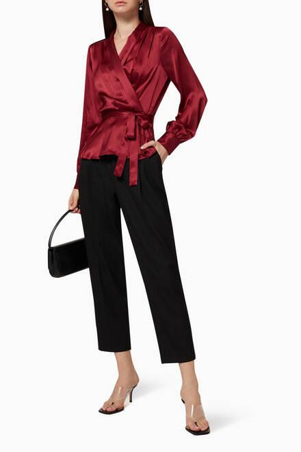 hover state of Marsden Silk Wrap Blouse