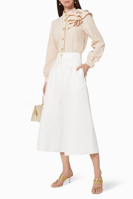 hover state of Textured Pleated Culottes