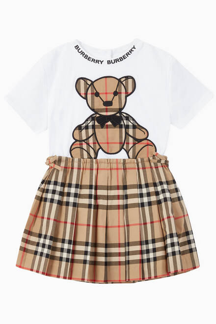 hover state of Vintage Check Cotton Pleated Skirt
