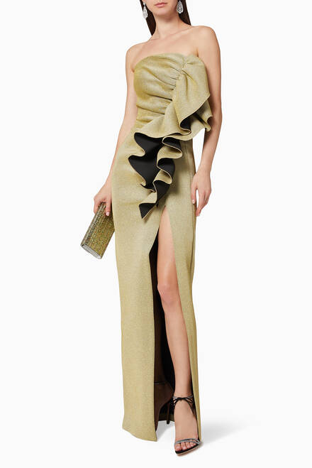 hover state of Ruffle Detail Lurex Gown