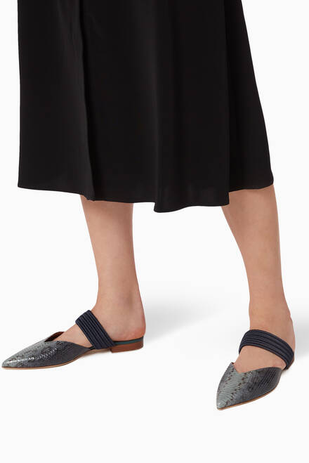 hover state of Maisie Flat Mules in Ombré Elaphe