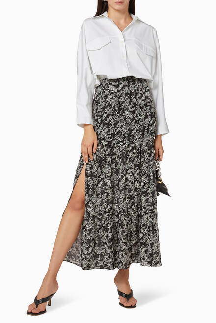 hover state of Trailing Jasmine Print Silk Skirt