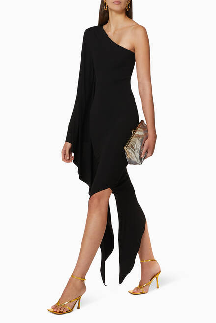 hover state of Draped One-Shoulder Jersey Long Dress