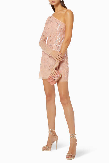hover state of Sequined Tulle Mini Dress