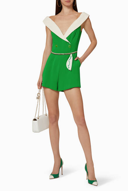 hover state of Off-The-Shoulder Crêpe Jumpsuit
