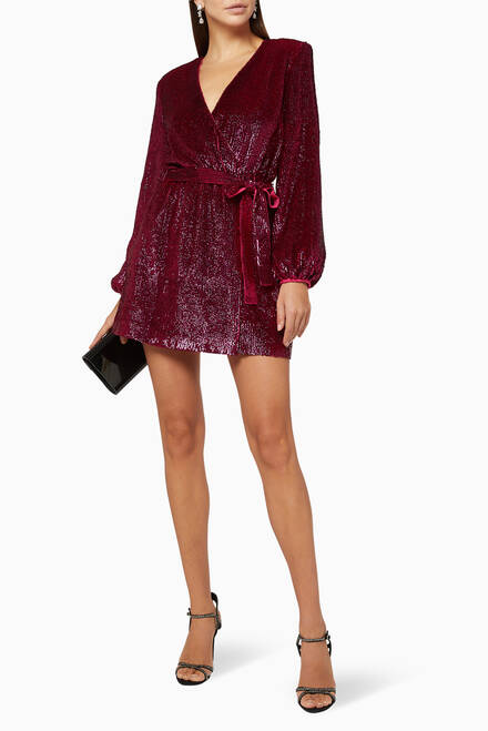 hover state of Sequinned Georgette Mini Dress