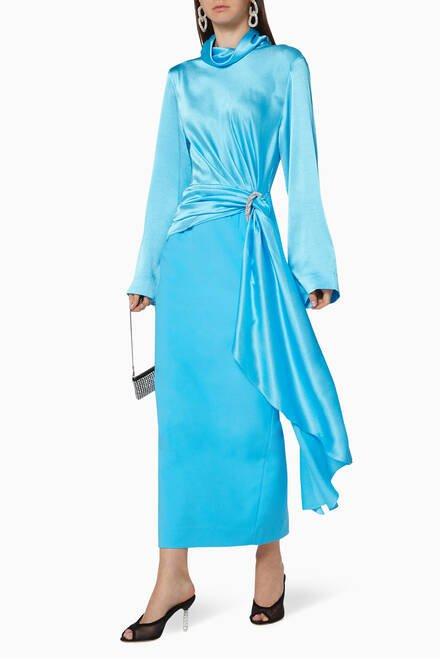 hover state of Zuri Satin Midaxi Dress
