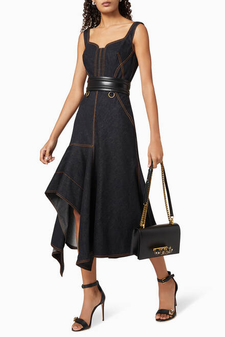 hover state of Contrast Stitch Denim Dress