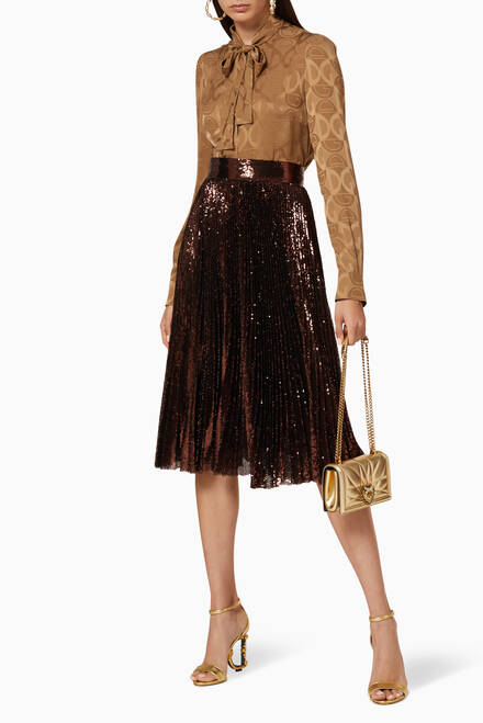 hover state of Sequin Plisse Midi Skirt